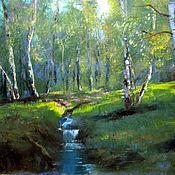 Картины и панно handmade. Livemaster - original item Oil painting. Landscape. Birch.. Handmade.