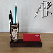 Канцелярские товары handmade. Livemaster - original item Desktop business card holder with pencil holder carved bone. Souvenir Owl. Handmade.