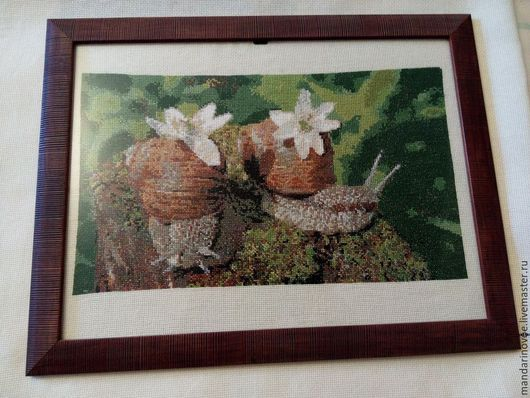 Пейзаж ручной работы. Ярмарка Мастеров - ручная работа. Купить Весна, цветы и улитки. Handmade. Весна, крестик, природа
