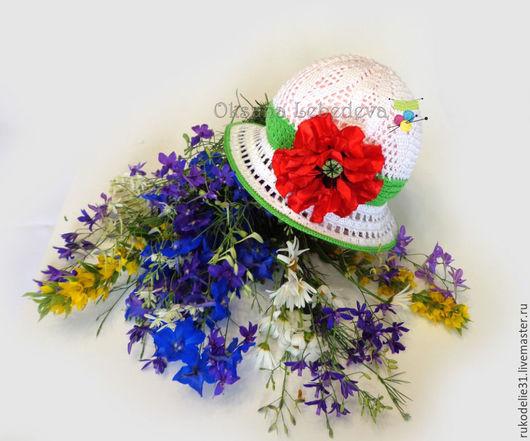вязаная шляпка с полями, летние шляпы фото, купить ажурную шляпку, шляпа крючком купить, детская вязаная шляпка крючком, мак,дельфиниум, полевые цветы, летний букет, ромашка, шляпа с цветком