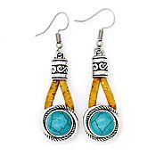 Украшения handmade. Livemaster - original item Earrings made of cork turquoise women`s jewelry handmade Br0004w. Handmade.
