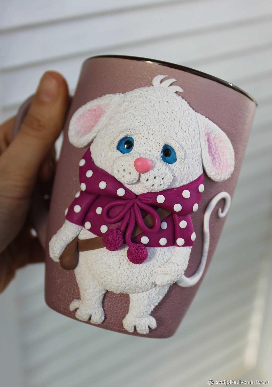Кружка с декором из полимерной глины Грустный мышонок Савелий, Кружки, Белая Калитва,  Фото №1