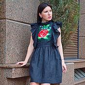 Одежда handmade. Livemaster - original item Embroidered Black Dress, Vyshyvanka Dress ethnic style Bohemian. Handmade.