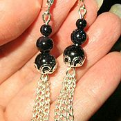 Украшения handmade. Livemaster - original item Beautiful Long earrings with aventurine blue with hanging chains. Handmade.