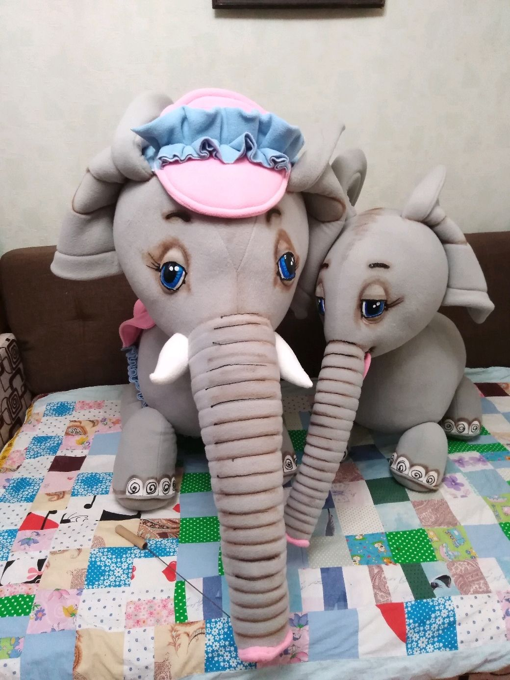 Elephants. Mom and her baby Jumbo. Theatrical tablet doll, Puppet show, Voronezh,  Фото №1