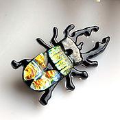 """Украшения ручной работы. Ярмарка Мастеров - ручная работа брошь """"Жук Олень"""", фьюзинг. Handmade."""