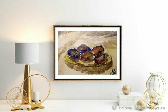 Painting For The Kitchen Still Life Painting With A Plum, Pictures, Moscow,  Фото №1