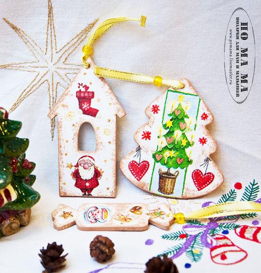 Новый год 2017 ручной работы. Ярмарка Мастеров - ручная работа. Купить Новогодние игрушки - елочные подвески. Handmade. Комбинированный