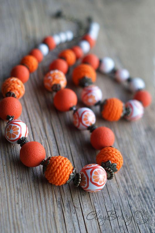 """Колье, бусы ручной работы. Ярмарка Мастеров - ручная работа. Купить Бусы """"Зимний вечер. Апельсины"""" (ярко-оранжевые). Handmade."""