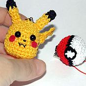 Субкультуры handmade. Livemaster - original item Keychain Pikachu and pokebol knitted. Pokemon. Handmade.