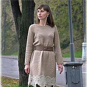 Одежда ручной работы. Ярмарка Мастеров - ручная работа Вязаное платье с кружевом. Handmade.