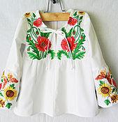 Одежда handmade. Livemaster - original item Tunic embroidered for girls Blouse shirt white cotton Embroidery. Handmade.