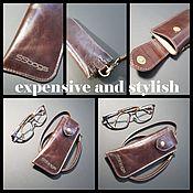handmade. Livemaster - original item Eyeglass case leather strap. case for glasses. Glasses case.. Handmade.