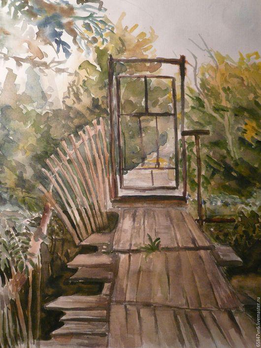 Пейзаж ручной работы. Ярмарка Мастеров - ручная работа. Купить Осень- акварельный рисунок. Handmade. Осенний пейзаж, мостик, природа