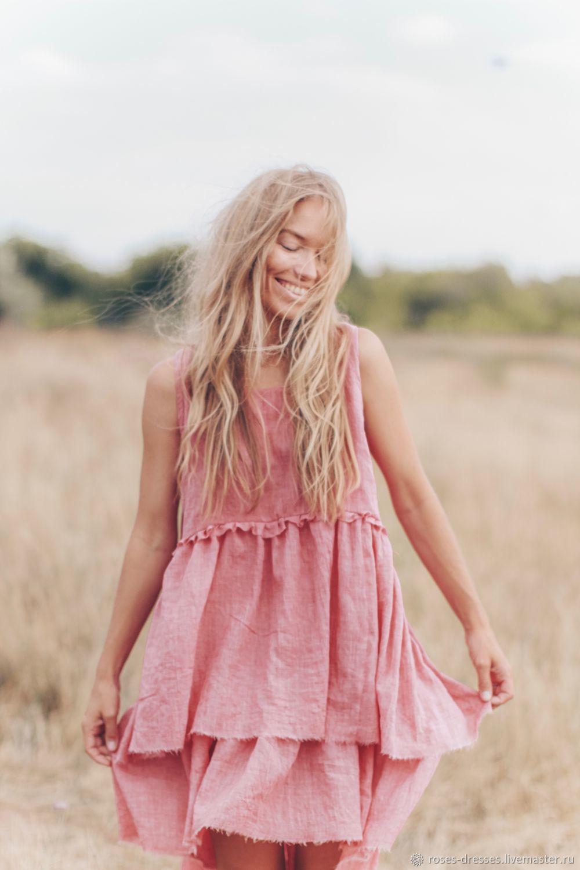 Платье с необработанными  воланами в розовом цвете, Платья, Самара,  Фото №1