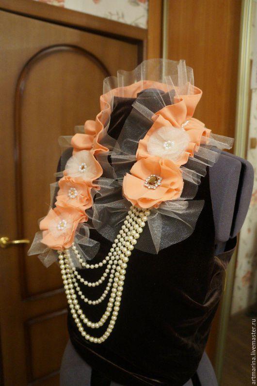 """Колье, бусы ручной работы. Ярмарка Мастеров - ручная работа. Купить Ожерелье- воротник из ткни и жемчуга """"Светский вечер"""". Handmade."""