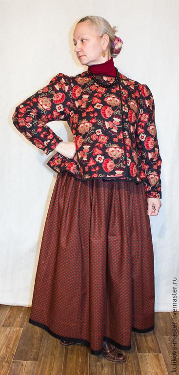 """Одежда ручной работы. Ярмарка Мастеров - ручная работа. Купить """"Шугай"""" - наплечная уличная одежда. Handmade. Бордовый, аутентичный"""