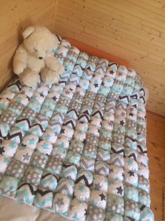 Текстиль, ковры ручной работы. Ярмарка Мастеров - ручная работа. Купить Бомбон одеяло полуторка. Handmade. Бирюзовый, подростки