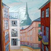 """Картины и панно ручной работы. Ярмарка Мастеров - ручная работа Картина """"Городская улочка"""", мозаика, витражное стекло, 65х40 см. Handmade."""