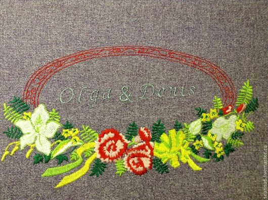 Картины цветов ручной работы. Ярмарка Мастеров - ручная работа. Купить Вышивка имен влюбленных на подарке, картине, рушнике, сувенирах. Handmade.