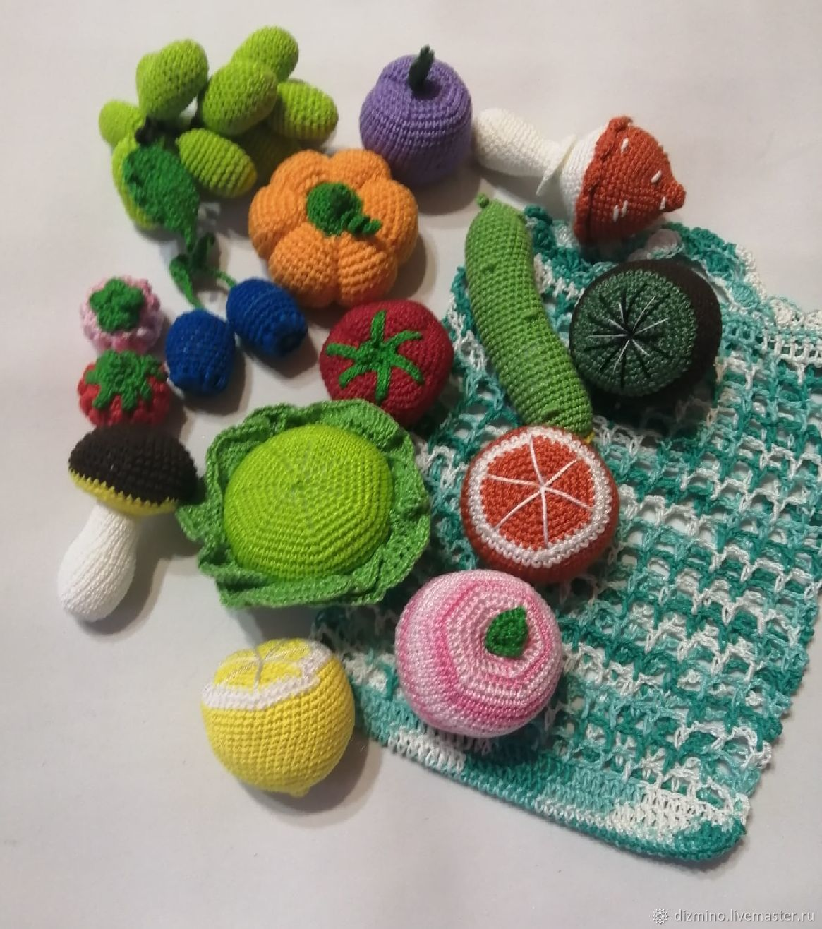 knitted fruits and vegetables in a grid, Doll food, Yar,  Фото №1