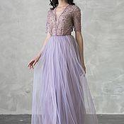 Вечернее фиолет платье вышитое бусинами, бисером и пайетками с рукавом