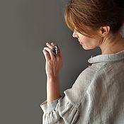 Украшения handmade. Livemaster - original item Porcelain ring with Japanese pearls, grey. Handmade.