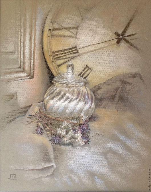 Натюрморт ручной работы. Ярмарка Мастеров - ручная работа. Купить Винтажный натюрморт пастелью Часы кажется стали, надо бы завести. Handmade.
