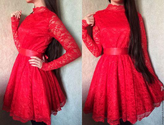 Платья ручной работы. Ярмарка Мастеров - ручная работа. Купить Пышное красное кружевное платье. Handmade. Ярко-красный