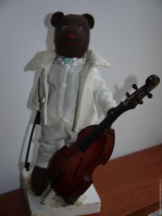 Куклы Тильды ручной работы. Ярмарка Мастеров - ручная работа. Купить медведь, играющий на контрабасе. Handmade. Коричневый, кукла интерьерная