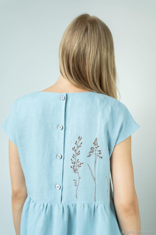 Платье голубое лён с принтом ручной работы, Платья, Златоуст,  Фото №1