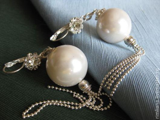 """Серьги ручной работы. Ярмарка Мастеров - ручная работа. Купить Серьги  шары """"Белый наряд"""" Крупные шары 21 мм Жемчуг. Handmade."""