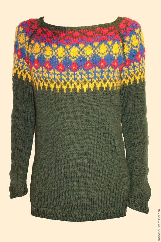 """Кофты и свитера ручной работы. Ярмарка Мастеров - ручная работа. Купить Джемпер """"Ожерелье"""". Handmade. Зеленый, унисекс, вязаное спицами"""