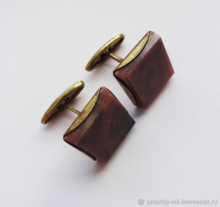 Cufflinks-rhodonite, 1970s, Vintage cufflinks, Moscow,  Фото №1
