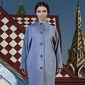 Одежда manualidades. Livemaster - hecho a mano Abrigo de un capullo envolvente azul de la lana. Handmade.