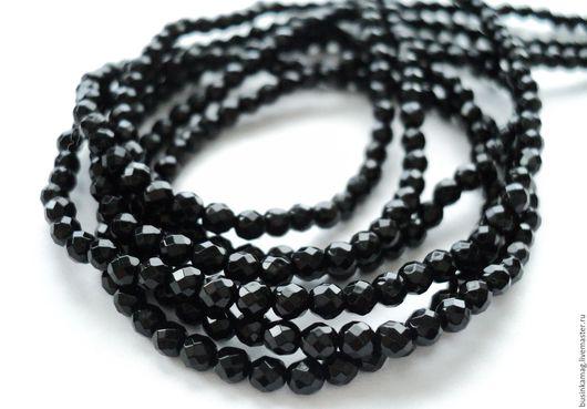 Для украшений ручной работы. Ярмарка Мастеров - ручная работа. Купить Шпинель черная мелкие граненые бусины шарики 3мм, 10шт. Handmade.
