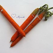 Канцелярские товары handmade. Livemaster - original item Stick a carrot felted wool. Handmade.
