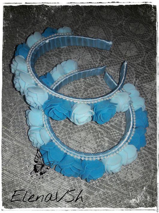 Повязки ручной работы. Ярмарка Мастеров - ручная работа. Купить Ободок Сине-голубые розы (основа - пластик). Handmade. Сувенир