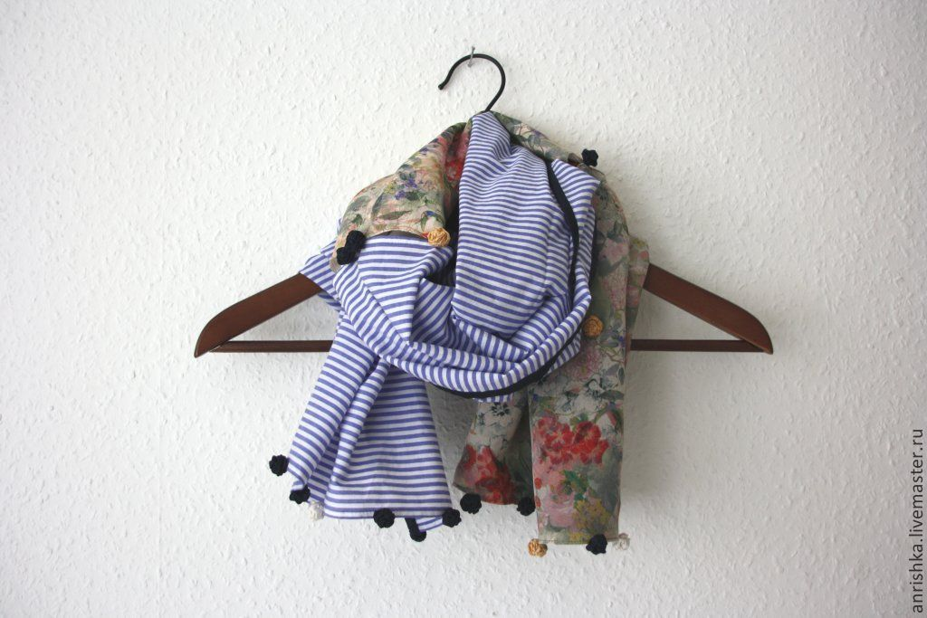 Scarf in blue striped and flower (silk, cotton, roses), Shawls1, St. Petersburg,  Фото №1