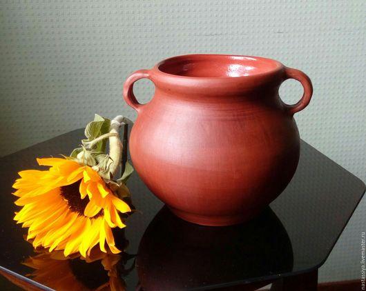 Посуда ручной работы. Ярмарка Мастеров - ручная работа. Купить Корчага из красной глины. Handmade. Коричневый, посуда из глины