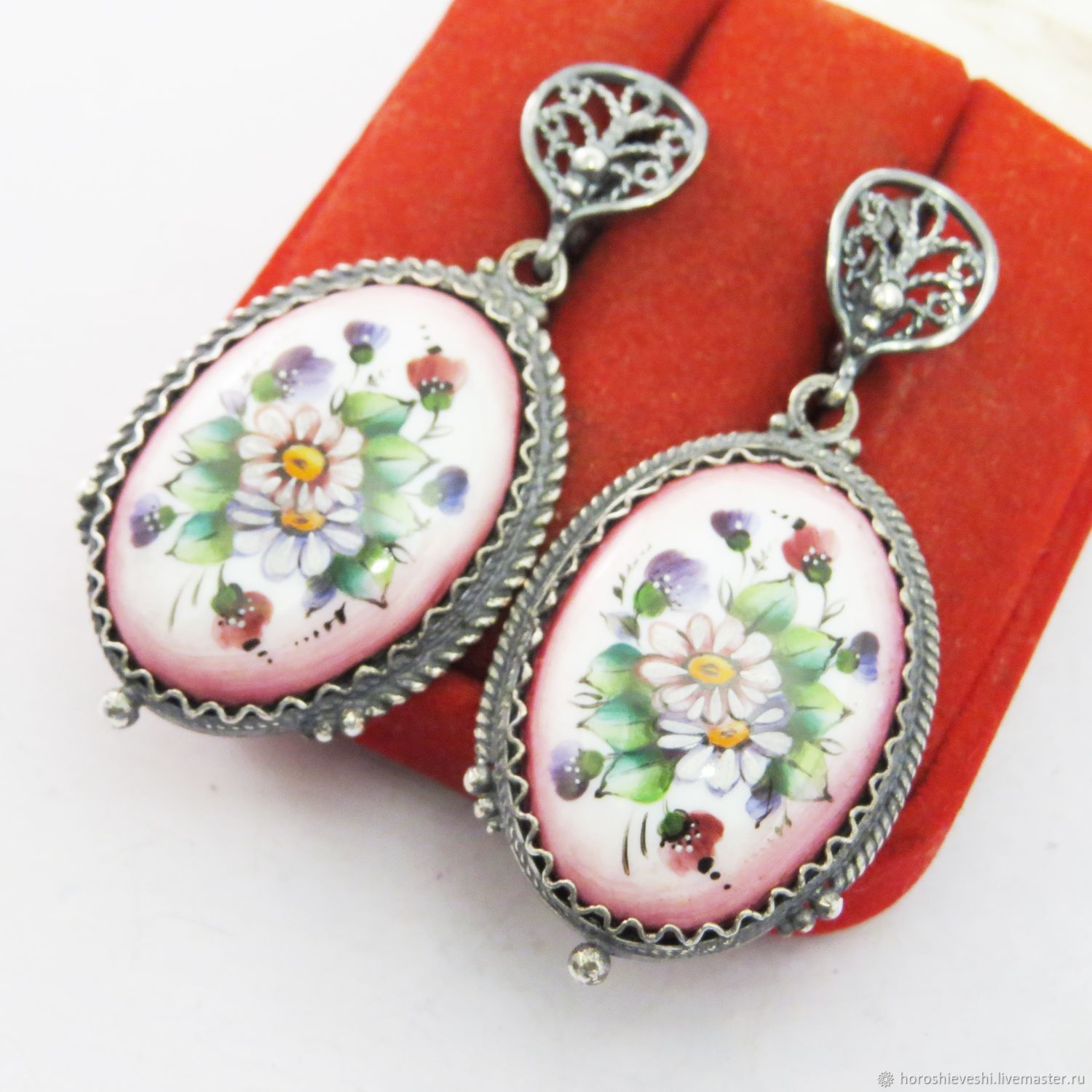 Earrings 'Camomile' Silvering Rostov Finift Filigree Large, Earrings, Moscow,  Фото №1