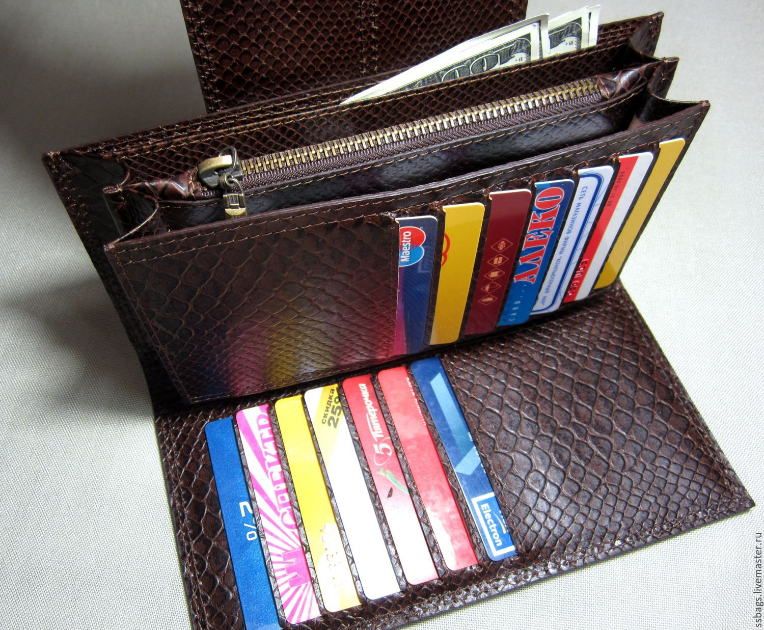 Purse-clutch bag made from Italian genuine leather with embossed , Wallets, St. Petersburg,  Фото №1