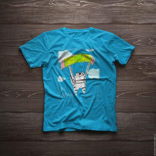 Футболки, майки ручной работы. Ярмарка Мастеров - ручная работа. Купить Кот-Парашютист футболка ручной росписи. Handmade. Голубой