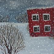 Картины и панно ручной работы. Ярмарка Мастеров - ручная работа Зима в маленьком городе. Handmade.