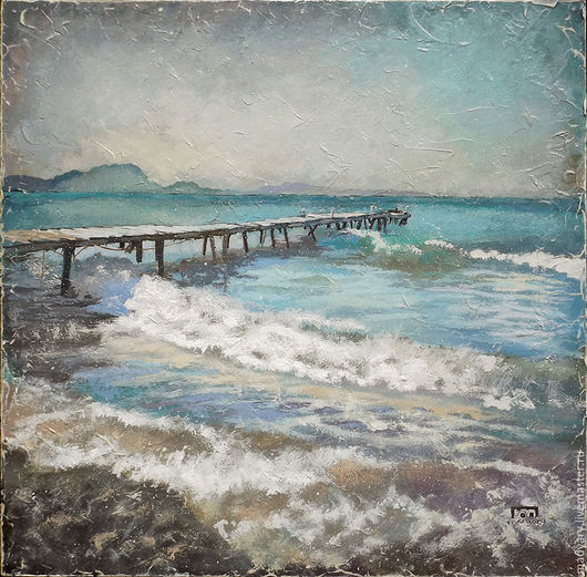 Пейзаж ручной работы. Ярмарка Мастеров - ручная работа. Купить картина Брызги, шум и ветер... (морской пейзаж, голубой, бирюзовый). Handmade.