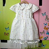 Работы для детей, ручной работы. Ярмарка Мастеров - ручная работа Хлопковое платье для девочки с рюшами, кружевом и фатином. Handmade.