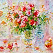 """Картины и панно ручной работы. Ярмарка Мастеров - ручная работа натюрморт """"Цветы на веранде"""". Handmade."""