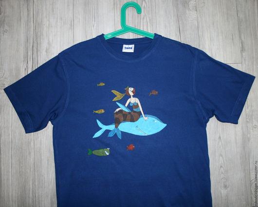 Футболка `В синем море, в белой пене...`, ручная роспись На фото размер XL(52) мужской