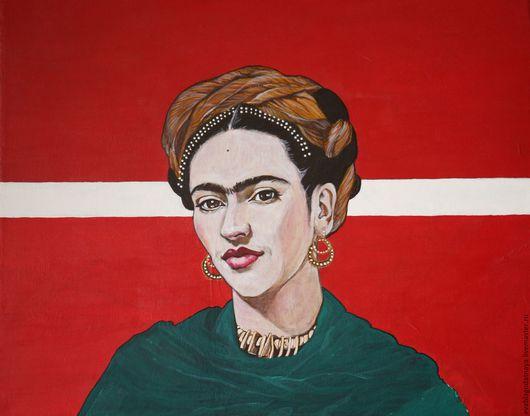 Люди, ручной работы. Ярмарка Мастеров - ручная работа. Купить Frida. Handmade. Ярко-красный, Фрида Кало, портрет