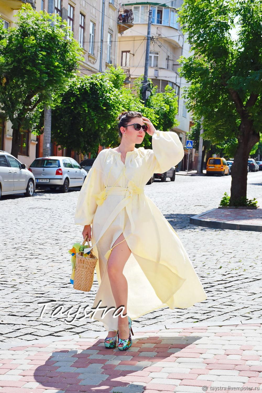 Embroidered beige evening dress, maxi boho dress beige, Dresses, Chernovtsy,  Фото №1